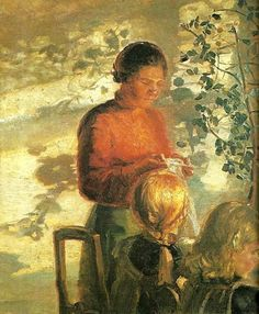Anna Ancher (Danish painter, 1859-1935) Teaching Sewing