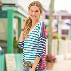 """LANGUID STRIPE PULLOVER�--�A mix of colorblock stripes gives a modern update to our classic pullover with rolled edges. Cotton. Hand wash. Imported. Exclusive. Sizes XS (2), S (4 to 6), M (8 to 10), L (12 to 14), XL (16). Approx. 23-3/4""""L."""