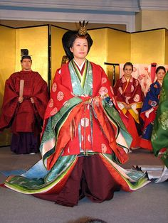 Men and women dressed in heian era robes