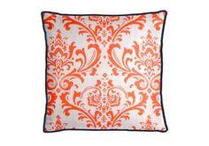 Custom Collegiate Throw Pillow made with Traditions in Tangelo and Slub (TRADITA) trimmed with Robert Allen Linen Slub in Ultramarine (RA-226513) - Perfect! #AuburnTigers #ClemsonTigers