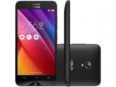 "Smartphone Asus ZenFone Go 16GB Preto Dual Chip 3G - Câm. 8MP Tela 5"" HD Proc. Quad Core Android 5.0"
