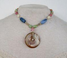 Vintage 80s Boho Cottage Chic Silvertone Pastel Marbled Free Form Bead Necklace by ThePaisleyUnicorn, $5.00