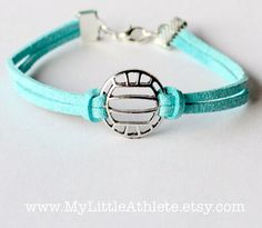 Volleyball Bracelet - Light Blue Faux Sued Charm by MyLittleAthlete<<<<kinda ironic because you can't wear bracelets while playing, but still cute. Volleyball Accessories, Volleyball Jewelry, Volleyball Team Gifts, Volleyball Outfits, Volleyball Workouts, Play Volleyball, Volleyball Shirts, Volleyball Quotes, Coaching Volleyball