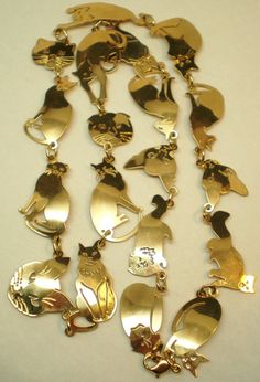 Vintage Cat Necklace Wild Brydes 14K Gold Plated by BagsnBling, $24.00