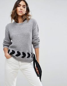 ASOS Sweater in Chunky Knit with Lace Up Detail