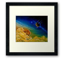 Framed print, painting, art, universe,cosmos,space,planets,stars,sky,clouds,colorful,blue,fantasy, wall art, wall decor, decorative items, redbubble