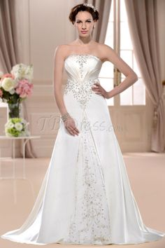 Glorious A-line Strapless Chapel Embroidery Wedding Dress