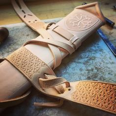 Leather work in progress for a 14th century Yeoman scabbard and sword belt. #leathercraft #medieval