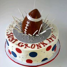 "Gronk Cake by Ellen Bartlett of ""Cakes to Remember""    Football Birthday cake photos. The best football cakes on Pinterest and the best football cakes on the web! Football cake ideas such as Football Stadium cakes, football field cakes, football helmet cakes, and football logo cakes. #football #cakes #gifts"