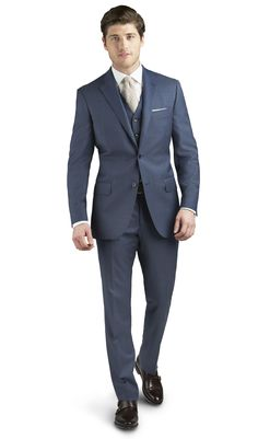 Brando Blue Sharkskin 2-Button Regular Suit