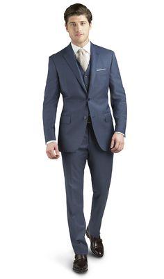 Brando Blue Sharkskin 2-Button Regular Suit