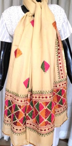 This lovely cotton dupatta is hand embroidered with light phulkari work in thread. It has small geometrical motifs all over, with a heavy border at both ends. A lovely accessory for any time of the day. It can even be stitched into a gorgeous kurta. - See more at: http://giftpiper.com/Light-Phulkari-Bagh-Work-Cotton-Dupatta-Offwhite-id-357381.html#sthash.EP5fttlw.dpuf