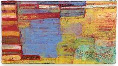 """Layered Landscape Barbara Gilhooly copyright 2006 Acrylic, enamel, ink, carving on wood 14"""" x 26"""""""