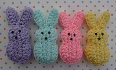 "Marshmallow Bunnies are 4"" tall and 1 3/4"" wide."