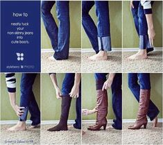 How to wear those tall boots with flare jeans. Plus, how to wear boot socks. Yay. Thank God for pictorials.