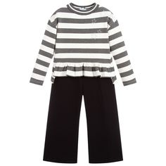 Girls stylish grey, ivory and black trouser set by Mayoral, made from soft cotton jersey. Mid-weight with a knitted neckline, the striped top has a ruffle hem which is shorter at the front, and silver diamanté star trims. The wide legged cropped trousers have a stretchy elasticated waistband. Black Trousers, Cropped Trousers, Kids Fashion, Fall Fashion, Kids Online, Outfit Sets, Wide Leg, Topshop, Ivory