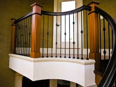 Boxed Newels, Metal, Wrought Iron Balusters
