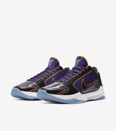 """""""👀Official Images of Nike Kobe 5 Protro 'Lakers'"""" Kobe Sneakers, Kobe Shoes, Kobe Bryant Shoes, Kobe 11, Retro Men, Nike Dunks, Nike Dri Fit, Champs, Athletic Shoes"""