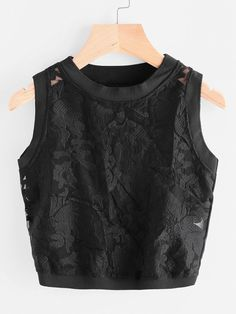 SheIn offers Embroidered Organza Panel Crop Tank Top & more to fit your fashionable needs. New Outfits, Summer Outfits, Cute Outfits, Fashion Outfits, Cropped Tank Top, Crop Tank, All Black Dresses, Fancy Blouse Designs, Western Outfits