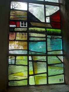Artist's Signature window designed by Roger Fifield.