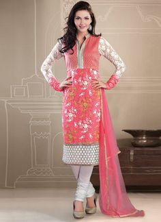 Pretty Embroidered Net Churidar suit