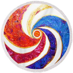 """#2004 Sun Spiral Round Beach Towel by Expressionistart studio Priscilla Batzell.  The beach towel is 60"""" in diameter and made from 100% polyester fabric."""