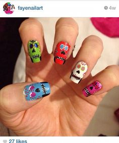 Skull candy by Fayenailart - From Nailsome (http://nailsome.com/)
