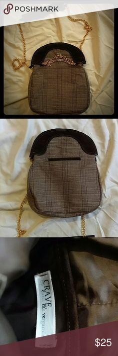 """Brown plaid purse This cute purse measures 8"""" x 10"""". It is a tartan cloth with different shades of brown and some gold color metallic thread.  There is a quick access pocket on the back and another card sized pocket in the main compartment.  Magnetic closure.  Worn only once.  Like new condition Bags Crossbody Bags"""