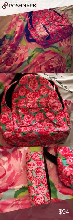 Lily Pulitzer duvet cover pencil case and backpack Lily Pulitzer pencil case: fair condition  Lily Pulitzer backpack: great condition, used once, wasn't what I was looking for so basically brand new Lily Pulitzer duvet cover (comforter not included): fair condition, gently used, still lots of life left in it. Twin  XL great for college dorms Lilly Pulitzer Bags Backpacks