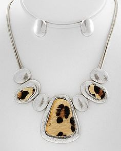 19.99$ Antique Silver Leopard Furry Pendant DESIGN Fashion JEWELRY Necklace Earring Set