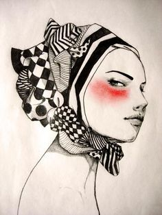 Artist: Gorotas Bohazinhas {female read b+w scarfed woman head profile portrait drawing} Askance !!