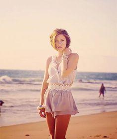 alone, beach, girl, jessica stroup, think