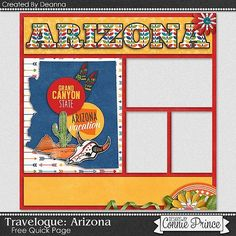 Connie has made some additions to her Travelogue series so this week you have two new releases! Travel Scrapbook Pages, Vacation Scrapbook, 12x12 Scrapbook, Scrapbook Templates, Arizona Trip, Arizona Travel, Digital Scrapbooking Freebies, Scrapbooking Layouts, Vacation Trips