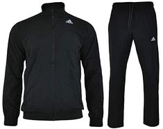 f32dabd71b42 adidas Men s Essentials Woven Tracksuit Track Top Pants Training Set Black  S22466