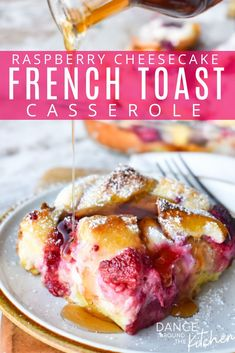 Raspberry Cheesecake French Toast Casserole This overnight french toast casserole has tart raspberries and a smooth cream cheese filling in each bite. The crispy top and custard-like bottom will have you going back for seconds….and thirds! Cinnamon Roll French Toast, Brioche French Toast, French Toast Rolls, Nutella French Toast, Make French Toast, Cream Cheese French Toast, Blueberry French Toast Casserole, Baked French Toast Casserole, Overnight Breakfast Casserole