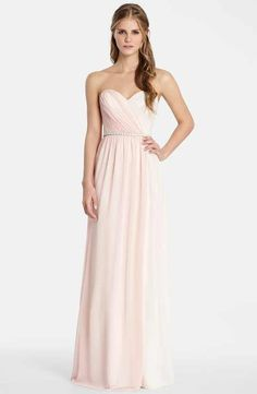 Jim HjelmOccasions Two Tone Strapless Chiffon Gown