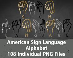 Items similar to American Sign Language Alphabet Sign Language Alphabet, American Sign Language, Printable Numbers, Printable Letters, Black Glitter, Letters And Numbers, Clip Art, Signs, Etsy