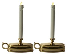"""One Kings Lane - Shine On - S/2 8"""" Window Taper Candles w/Timer, Brs"""