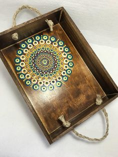 Original Mandala Painting on Wood Serving Tray, Dotilism, Dot Painting, Aboriginal Art, Henna Meditation Art, Healing/Calming, Hand Painted Acrylic paint on wood, sprayed multiple times with high gloss sealer to protect paint and aging. Colors are: teals,creams, yellows, wines