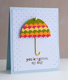 Umbrella card Change the colors of the umbrella, tip it a bit, and use for baby or wedding shower