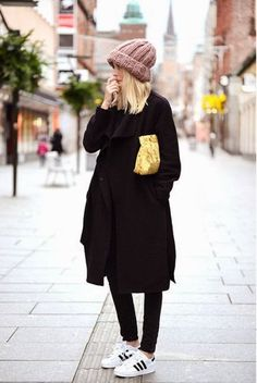 all black with bright accessories