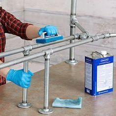 Scrub the pipes clean with mineral spirits or trisodium phosphate (TSP)
