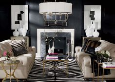 Love how the zebra-print rug pulls this room together.