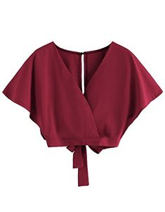 Floerns Women's Summer Deep V-Cut Keyhole Back Bow Tie Crop Blouse Burgundy S Classy Outfits, Trendy Outfits, Cute Outfits, Hippie Outfits, Girl Outfits, Fashion Outfits, Top Soirée, Casual Tops For Women, Party Wear Dresses