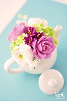 Mini Teapot Clay Flower Arrangement with by dkdesignshawaii