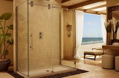 calming brown bathroom focused on beam glass shower enclosure with white recessed lighting also decorative ceiling beams | How to  Enhance Small Bathroom Shower | https://www.designoursign.com #bathroom  #luxurybathroom #luxurybathroomideas #luxuryfurniture #interiordesign #luxurydesign #homedecor #designdetails