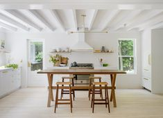 An old Amagansett home gets a makeover in this light and airy house tour! Modern yet timeless, designer Jessica Helgerson nails Scandinavian style in this project. All White Kitchen, White Kitchen Cabinets, Painting Kitchen Cabinets, White Kitchens, Kitchen Country, Kitchen Paint, Luxury Kitchens, Open Kitchen, Rustic Kitchen