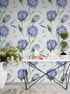 Indigo flower wallpaper || Botanical wallpaper || Watercolor floral removable wallpaper || Flower wall decal #4