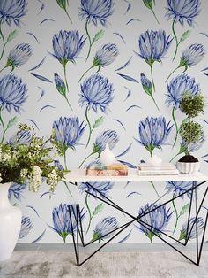 Indigo flower wallpaper || Botanical wallpaper || Watercolor floral removable wallpaper || Flower wall decal #4