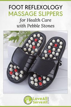 b49051d86869 Foot Reflexology Massage Slippers for Elderly Healthy Care with Pebble Stone
